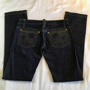 Dsquared2 Low Rise Dark Wash Denim Jeans